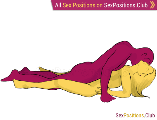 Sex position #3 - Cat. (face to face, lying down, man on top). Kamasutra - Photo, picture, image