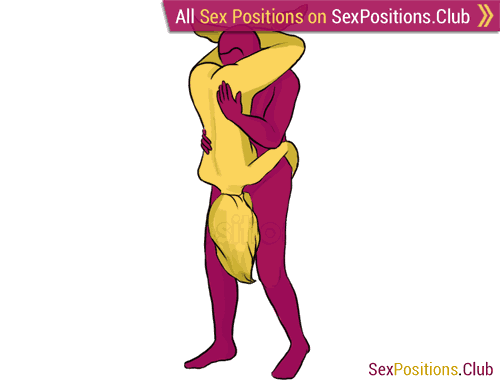 Sex position #157 - Pisces. (69 sex position, oral sex, standing). Kamasutra - Photo, picture, image