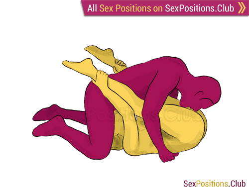 Sex position #73 - Yin-Yang. (69 sex position, cunnilingus, lying down, man on top, oral sex). Kamasutra - Photo, picture, image