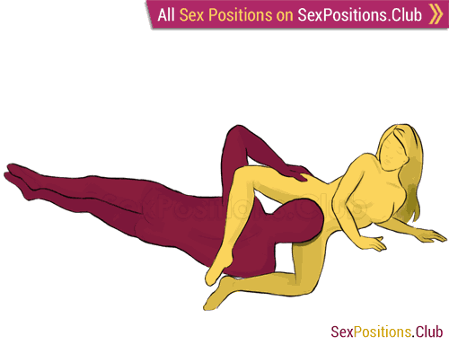 Sex position #74 - Shell. (cunnilingus, lying down, oral sex). Kamasutra - Photo, picture, image