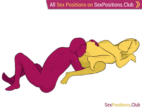 Sex position #98 - Snail. (cunnilingus, from behind, lying down, oral sex). Kamasutra - Photo, picture, image