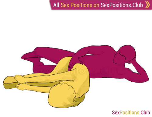 Sex position #76 - Butterfly. (from behind, lying down, rear entry, sideways). Kamasutra - Photo, picture, image