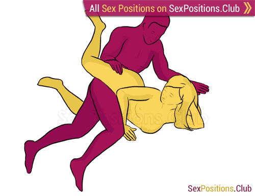 Sex position #88 - Belt. (from behind, lying down, rear entry, sideways). Kamasutra - Photo, picture, image