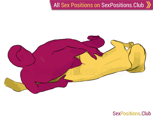 Sex position #112 - Joystick. (from behind, lying down, rear entry, reverse, sideways). Kamasutra - Photo, picture, image