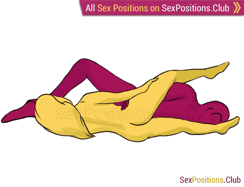 Sex position #172 - Marmalade. (lying down, reverse, sideways). Kamasutra - Photo, picture, image