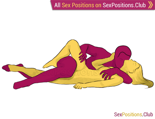 Sex position #64 - Tango. (face to face, lying down, sideways). Kamasutra - Photo, picture, image