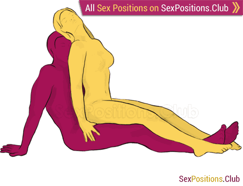 Sex position #114 - Chair. (cowgirl, from behind, sitting, woman on top). Kamasutra - Photo, picture, image