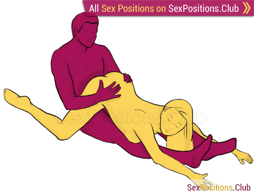 Sex position #162 - Sledge. (cowgirl, from behind, woman on top). Kamasutra - Photo, picture, image