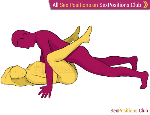Sex position #79 - Rodeo. (face to face, lying down, man on top). Kamasutra - Photo, picture, image