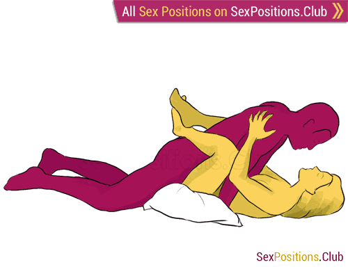 Sex position #29 - Harmony. (face to face, lying down, man on top). Kamasutra - Photo, picture, image