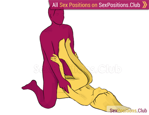 Sex position #57 - Slope. (kneeling, man on top, right angle). Kamasutra - Photo, picture, image