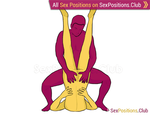 Sex position #142 - Rabbit Ears. (man on top, reverse, standing). Kamasutra - Photo, picture, image