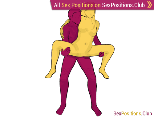 Sex position #58 - Butterfly. (from behind, rear entry, standing, woman on top). Kamasutra - Photo, picture, image