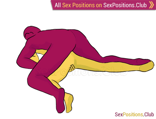 Sex position #71 - Lazy Dog. (from behind, lying down, man on top, rear entry). Kamasutra - Photo, picture, image
