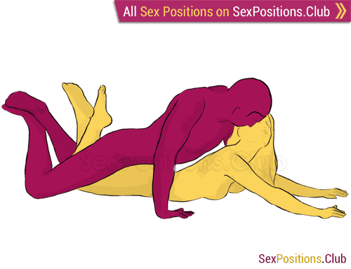 Sex position #131 - Plain. (from behind, lying down, man on top, rear entry). Kamasutra - Photo, picture, image