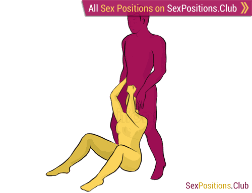 Sex position #203 - Jackhammer. (blowjob, oral sex, standing). Kamasutra - Photo, picture, image