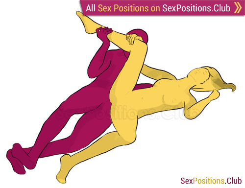 Sex position #214 - Unicorn. (criss cross, lying down, sideways). Kamasutra - Photo, picture, image