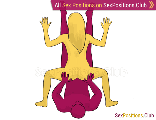 Sex position #245 - Capricorn. (reverse, standing, woman on top). Kamasutra - Photo, picture, image