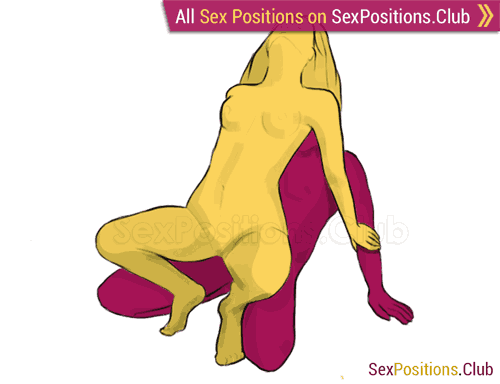 Sex position #206 - Crucifixion. (from behind, rear entry, sitting, woman on top). Kamasutra - Photo, picture, image