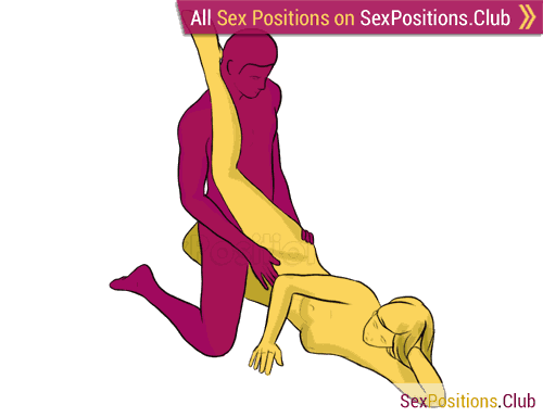 Sex position #227 - Spiderman. (kneeling, man on top, right angle). Kamasutra - Photo, picture, image