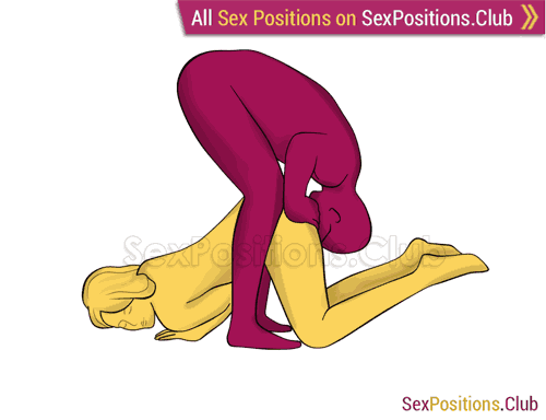 Sex position #345 - Pie in the sky. (oral sex, cunnilingus, standing, from behind). Kamasutra - Photo, picture, image