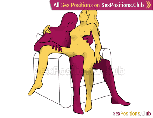 Sex position #247 - Japan (on the armchair). (woman on top, criss cross, sitting). Kamasutra - Photo, picture, image
