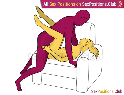 Sex position #350 - XXX (on the armchair). (man on top, right angle). Kamasutra - Photo, picture, image