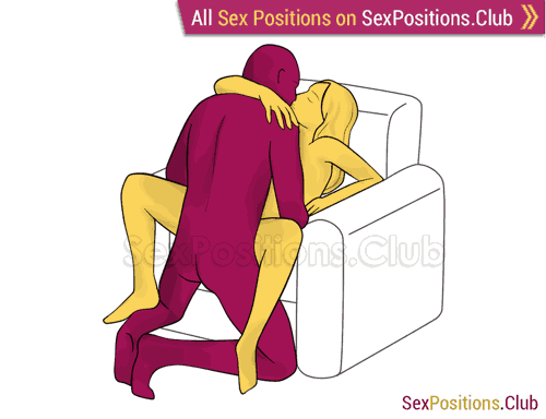 Sex position #365 - French Kiss (on the armchair). (face to face, kneeling). Kamasutra - Photo, picture, image