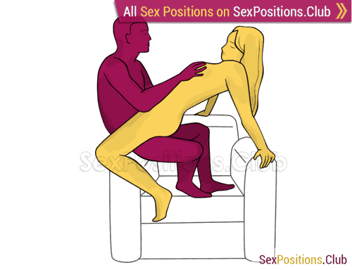 Sex position #386 - Chinese art (on the armchair). (woman on top, sitting). Kamasutra - Photo, picture, image