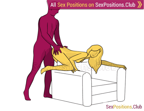 Sex position #372 - Multiply Pleasure (on the armchair). (anal sex, doggy style, from behind, rear entry, standing). Kamasutra - Photo, picture, image