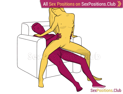 Sex position #393 - Erotic poster (on the armchair). (woman on top, from behind, sitting). Kamasutra - Photo, picture, image