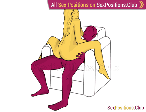 Sex position #400 - Orgazm generator (on the armchair). (cowgirl, woman on top, sitting). Kamasutra - Photo, picture, image