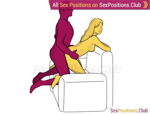 Sex position #407 - Amateur (on the armchair). (anal sex, doggy style, from behind, rear entry, kneeling). Kamasutra - Photo, picture, image