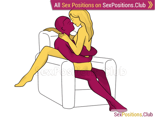Sex position #414 - Mexican style (on the armchair). (woman on top, face to face, sitting). Kamasutra - Photo, picture, image
