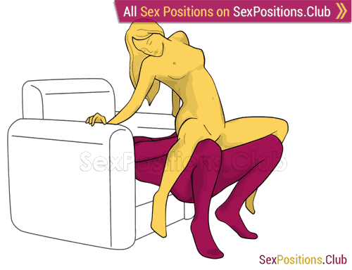 Sex position #421 - Spanish sunset (on the armchair). (woman on top, from behind, sitting). Kamasutra - Photo, picture, image
