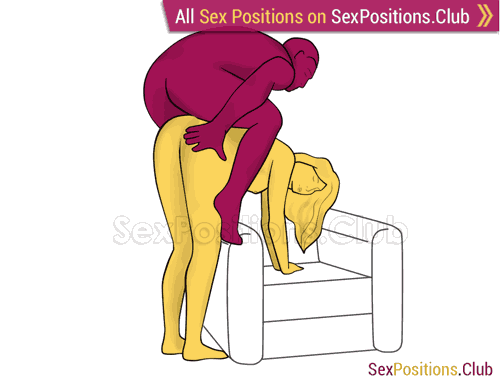 Sex position #428 - Seahorse (on the armchair). (anal sex, doggy style, from behind, rear entry, man on top, standing). Kamasutra - Photo, picture, image