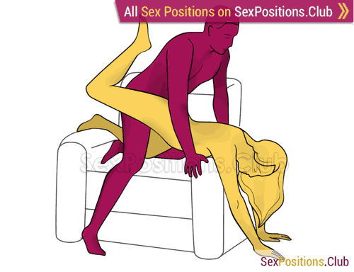 Sex position #337 - Dutch oven (on the armchair). (doggy style, from behind, rear entry). Kamasutra - Photo, picture, image