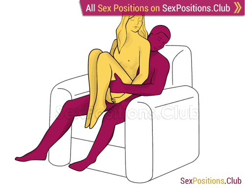 Sex position #358 - Shy girl (on the armchair). (woman on top, from behind, sitting). Kamasutra - Photo, picture, image