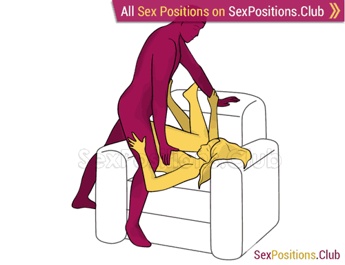 Sex position #274 - Sensual touch (on the armchair). (anal sex, right angle, standing). Kamasutra - Photo, picture, image