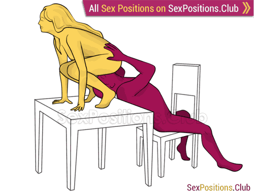 Sex position #301 - Feeder (on the table). (oral sex, cunnilingus, woman on top). Kamasutra - Photo, picture, image