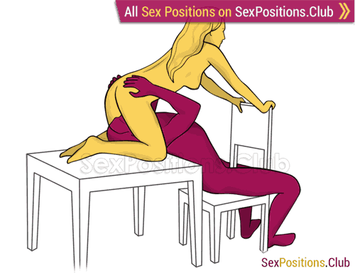 Sex position #373 - Kitchen (on the table). (oral sex, cunnilingus, woman on top). Kamasutra - Photo, picture, image