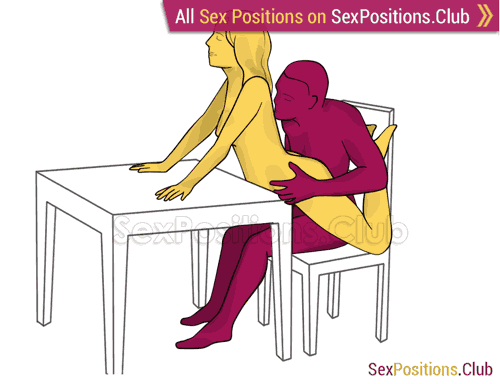 Sex position #436 - Snack (on the table). (cowgirl, woman on top, from behind, sitting). Kamasutra - Photo, picture, image
