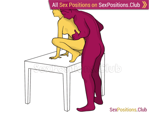 Sex position #288 - Hottest lover (on the table). (anal sex, doggy style, from behind, rear entry, standing). Kamasutra - Photo, picture, image