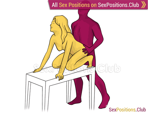 Sex position #415 - Penguin (on the table). (anal sex, doggy style, from behind, rear entry, standing). Kamasutra - Photo, picture, image
