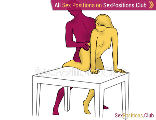 Sex position #442 - Wild pony (on the table). (anal sex, doggy style, from behind, rear entry, standing). Kamasutra - Photo, picture, image