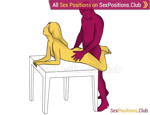 Sex position #448 - Orgazmic penetration (on the table). (doggy style, from behind, rear entry, standing). Kamasutra - Photo, picture, image