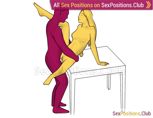 Sex position #327 - Slow dance (on the table). (face to face, standing). Kamasutra - Photo, picture, image