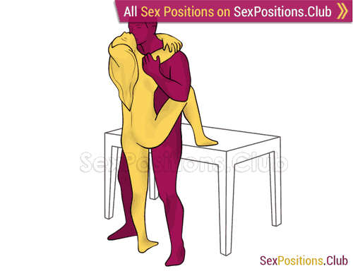 Sex position #429 - Deep stick (on the table). (face to face, standing). Kamasutra - Photo, picture, image