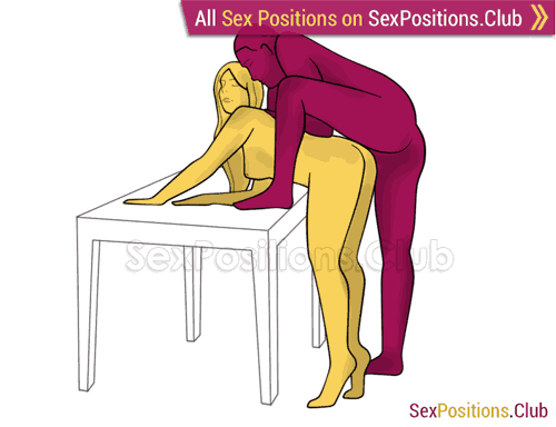 Sex position #359 - Pterodactyl (on the table). (anal sex, doggy style, from behind, rear entry, standing). Kamasutra - Photo, picture, image