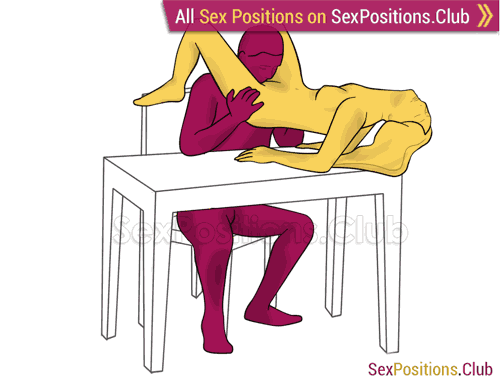 Sex position #261 - Special breakfast (on the table). (oral sex, cunnilingus). Kamasutra - Photo, picture, image
